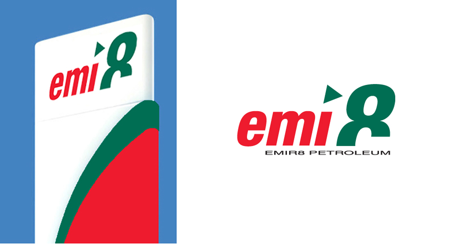 Station forecourt sign and Logo in red and dark green for EMIR8 petroleum