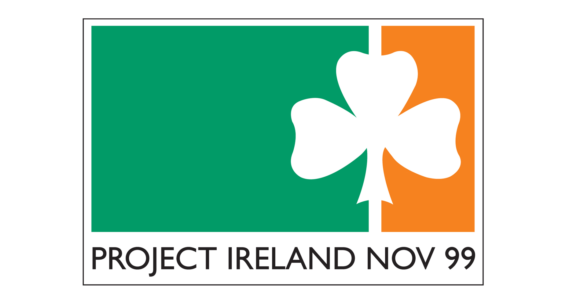 image of the Irish flag in green white and orange but with the shape of a shamrock forming the white element