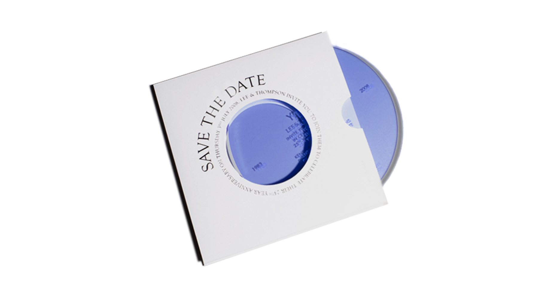 A white card record sleeve that contains an opaque blue disc, engraved with party invitation details