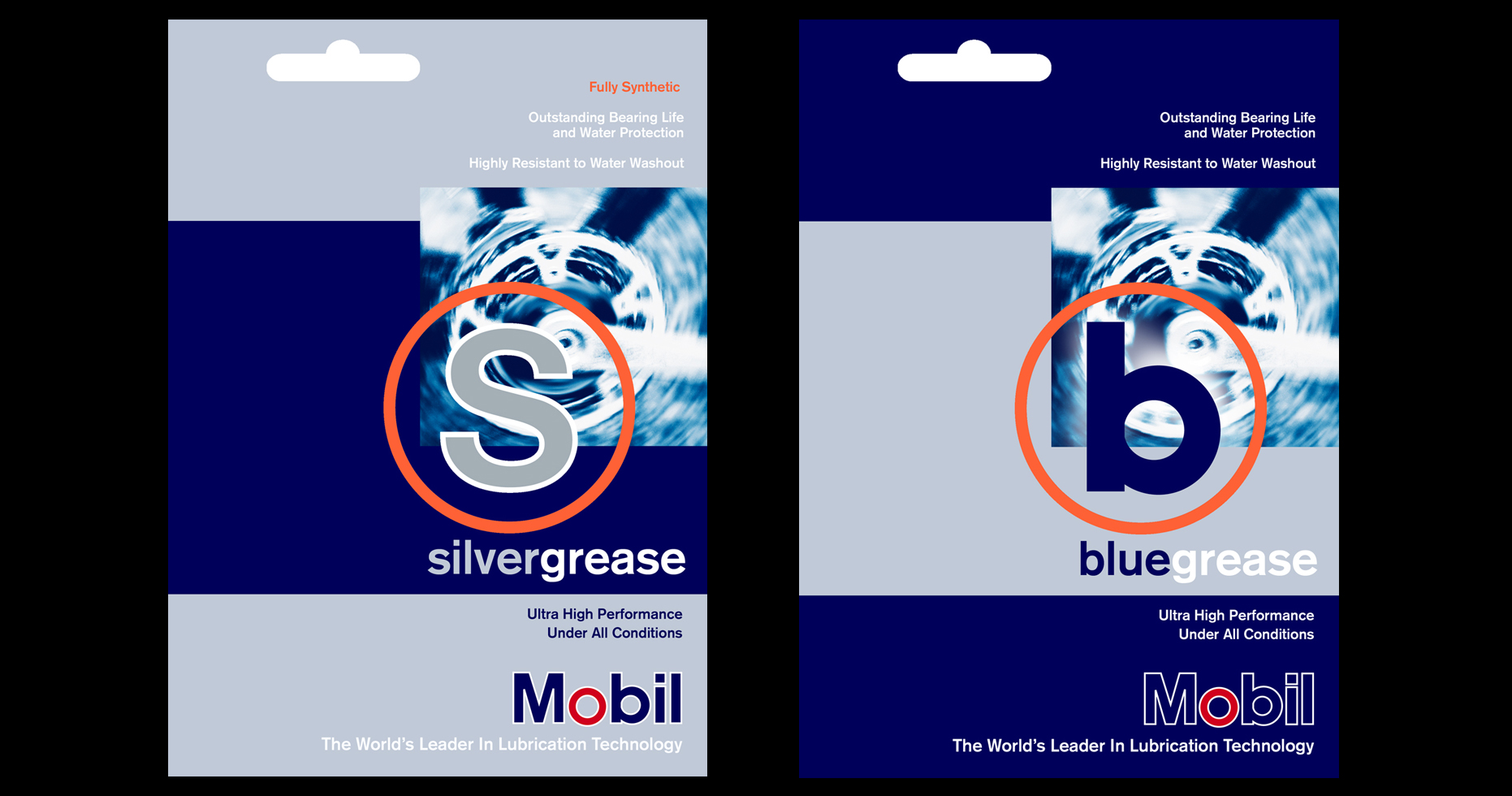 Card packaging sleeves in silver and dark blue stripes with a photo of a mountain bike crank and a red outline circle with the letters S and B above the Mobil Oil logo