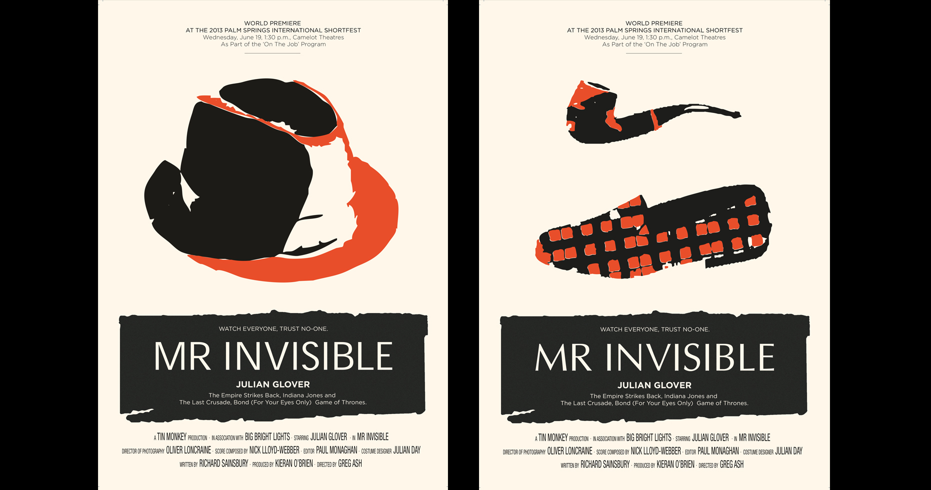 Film poster with a biege background and an orange hat and a pip and slippers above the banner 'Mr Invisible'