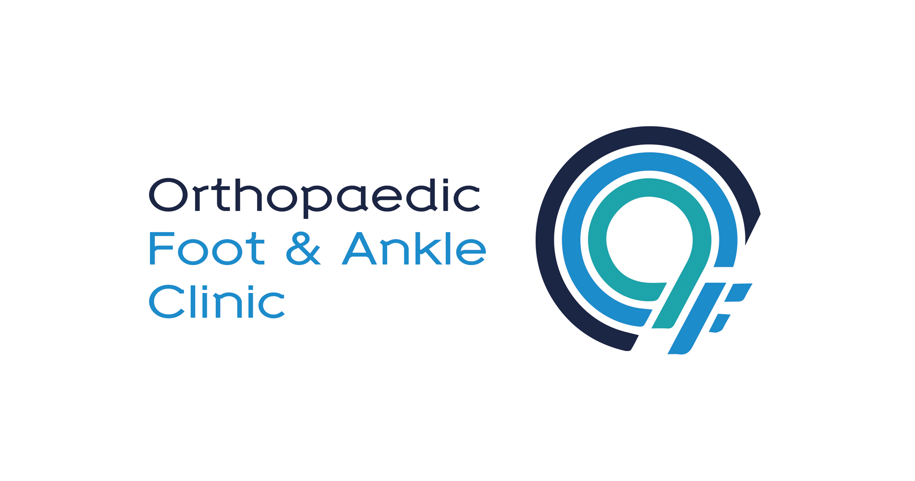 A logo of a series of circles in a range of blue hues alongside the words 'Orthopaedic Foot & Ankle Clinic'