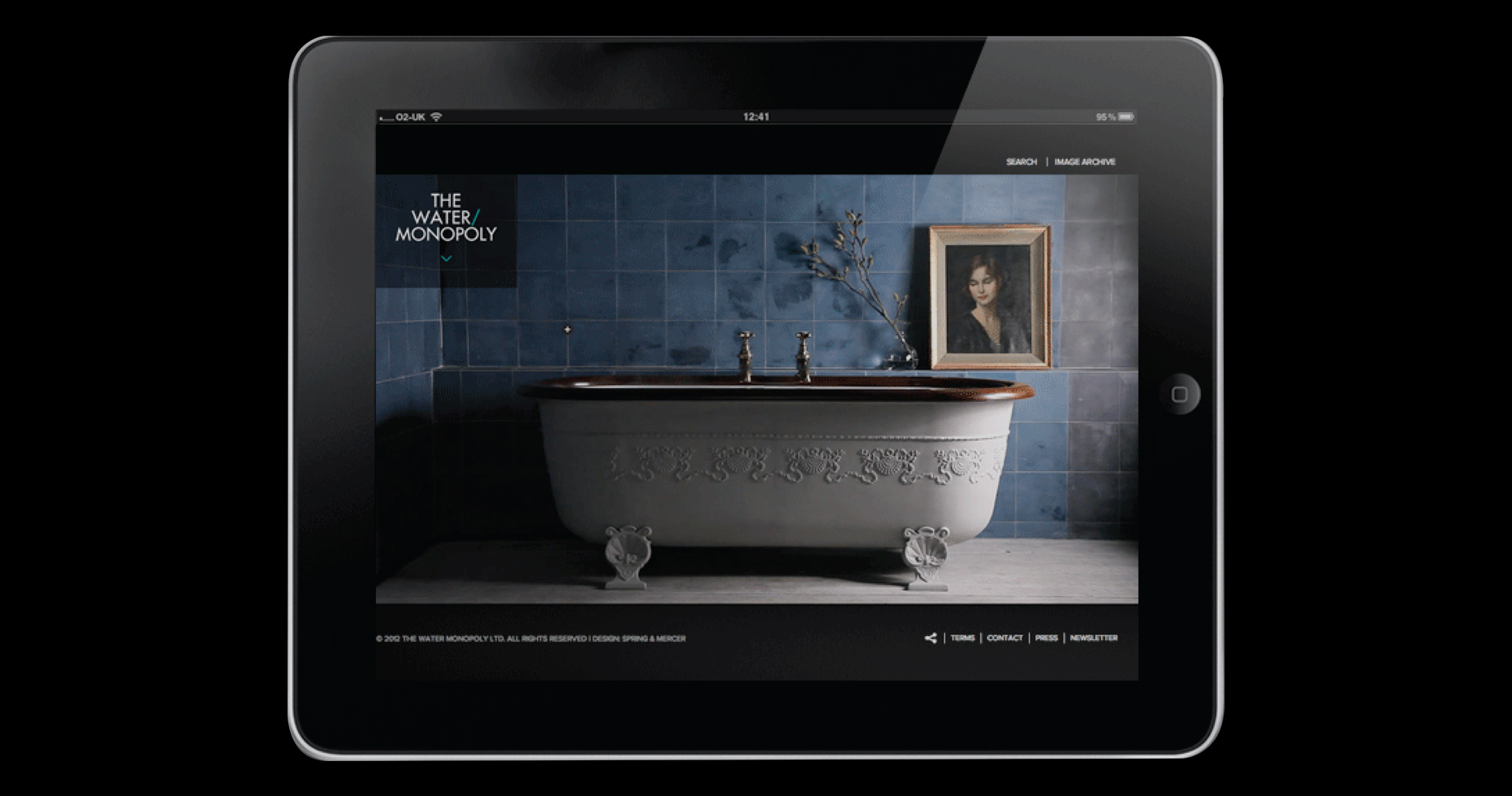ipad showing The Water Monopoly website that features an antique bath