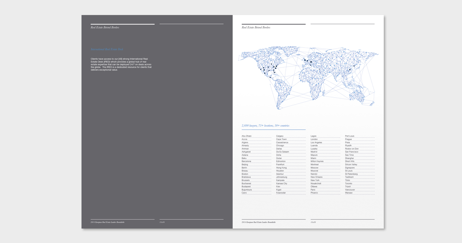 Brochure with a dark grey panel on the left page and white on the right that shows a wireframe map of the world