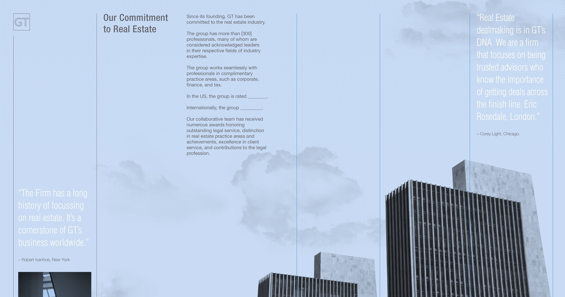 Brochure spread that shows a column of text with the edge of several skyscapers