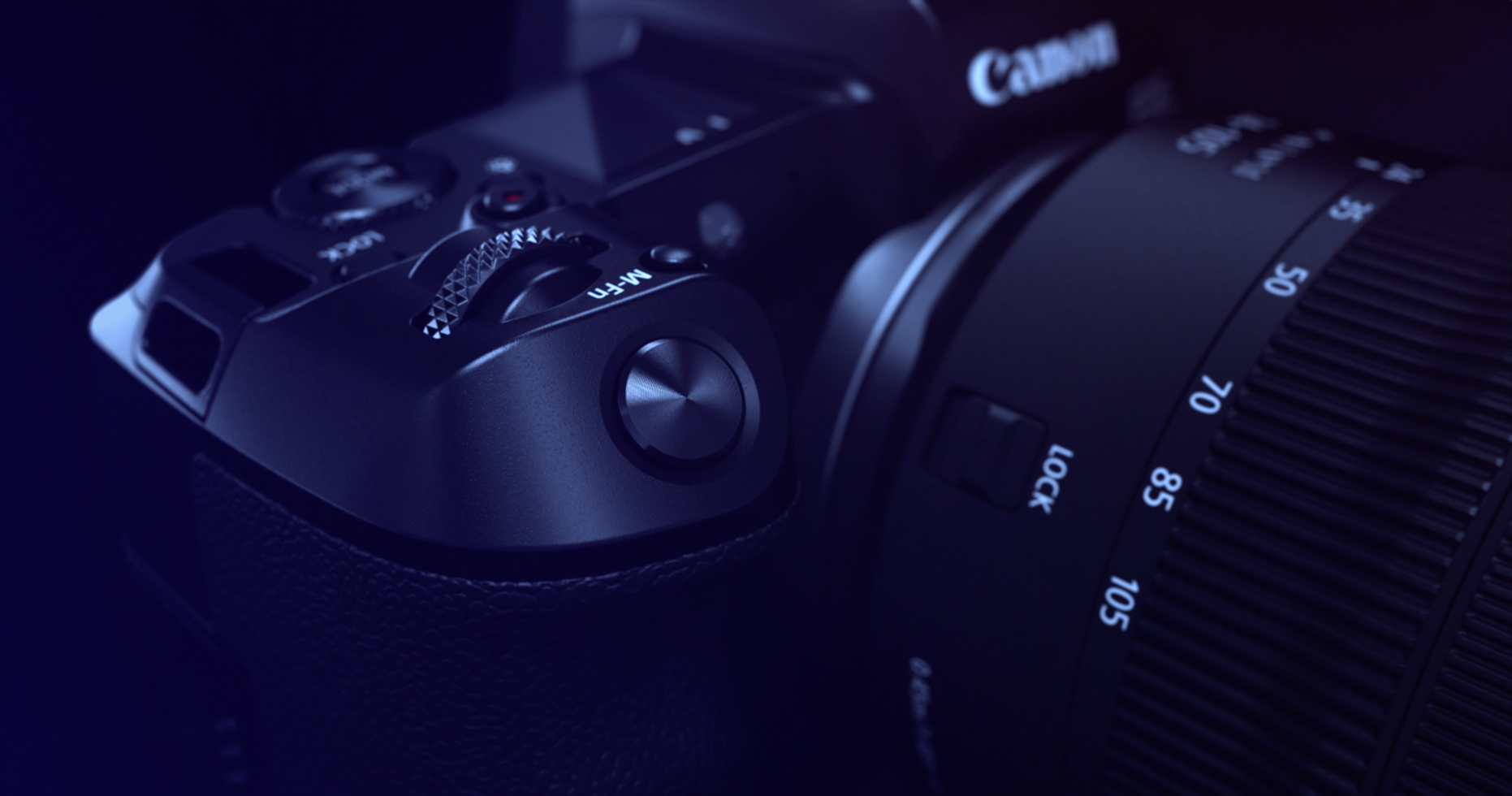 Close-up details of a Canon EOS R camera