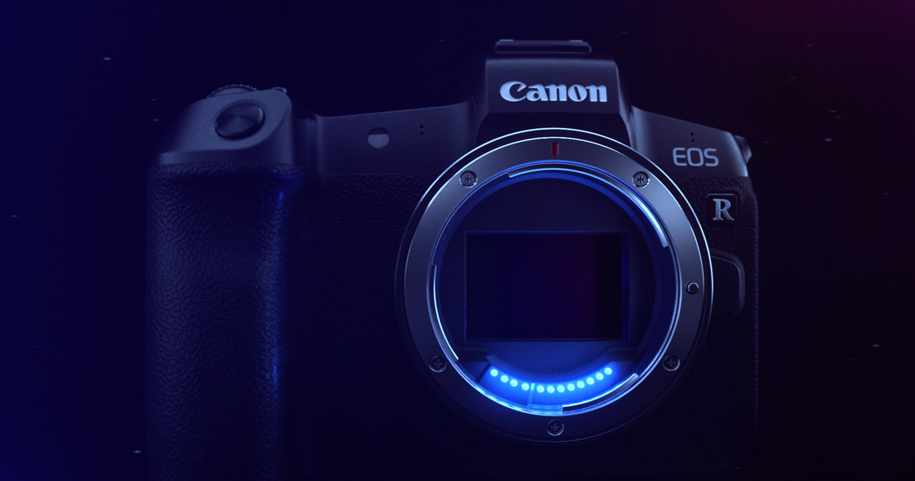 A Canon EOS R Camera with sensor exposed