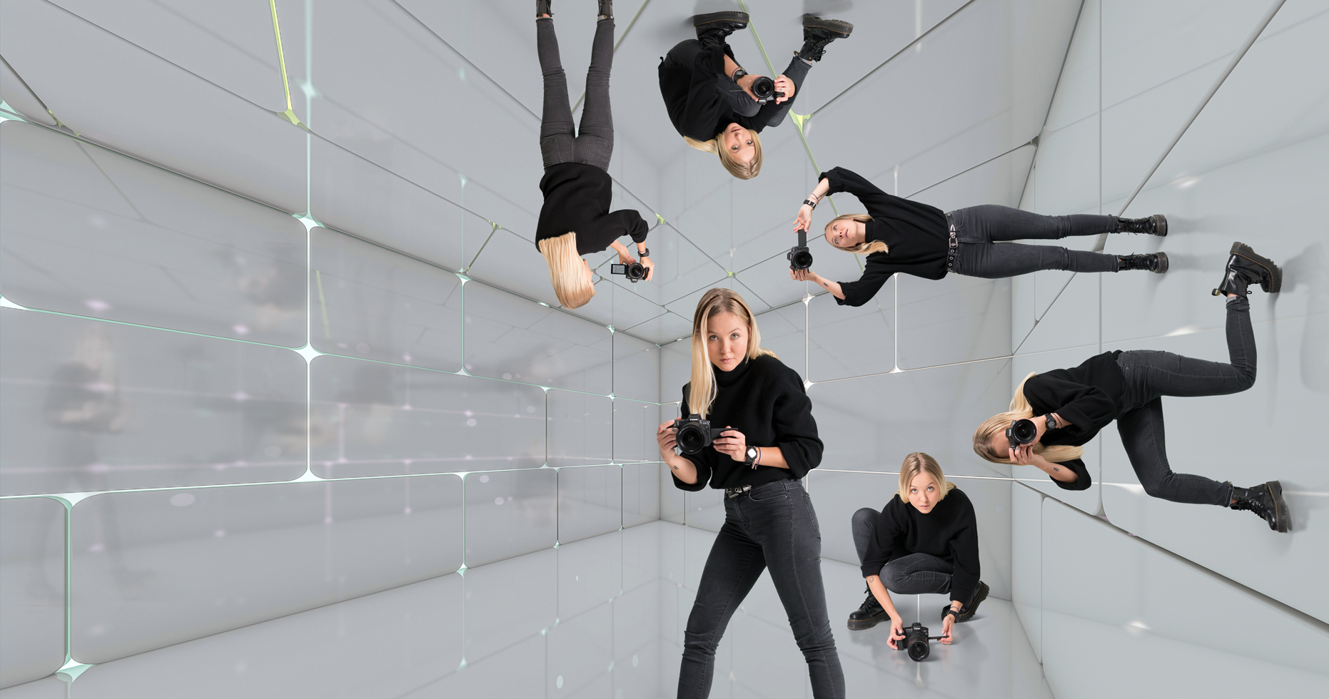 six images of the same girl in a reflective glass room holding a canon EOS R Camera